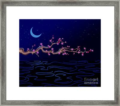 Night Cherry Blossoms Framed Print by Bedros Awak