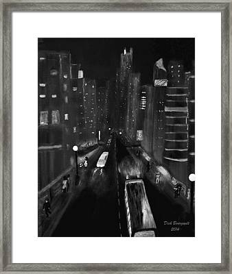 Night City Scape Framed Print by Dick Bourgault