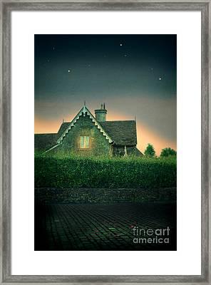 Night Cottage Framed Print by Jill Battaglia