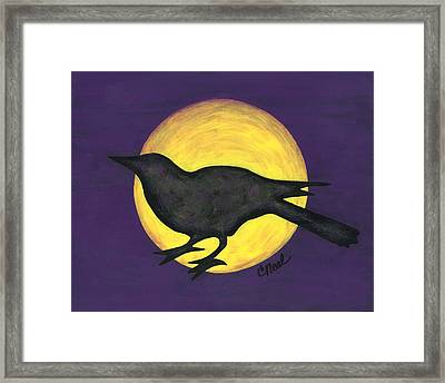 Night Crow On Purple Framed Print
