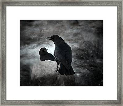 Mysterious Night Crows Framed Print by Gothicrow Images
