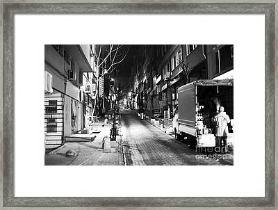 Night Delivery In Istanbul Framed Print by John Rizzuto