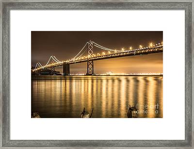 Night Descending On The Bay Bridge Framed Print by Suzanne Luft