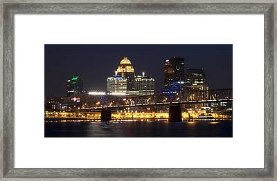 Framed Print featuring the photograph Night Descends Over Louisville City by Deborah Klubertanz