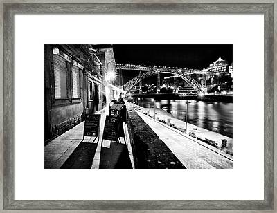 Night Dining In Porto Framed Print by John Rizzuto