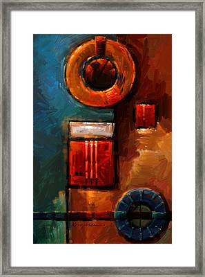 Night Engine - Abstract Red Gold And Blue Print Framed Print by Kanayo Ede
