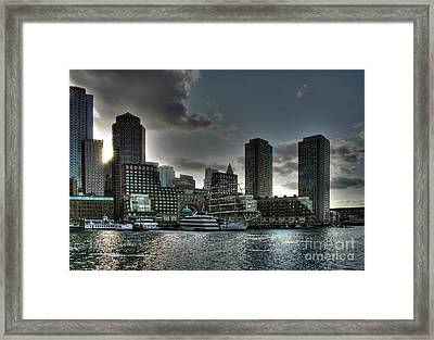 Night Fall At The Harbor Framed Print by Adrian LaRoque