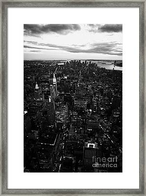 Night Falling Over Lower Manhattan New York City Framed Print by Joe Fox