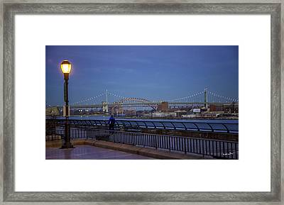 Night Falling Over The East River - Manhattan Framed Print by Madeline Ellis