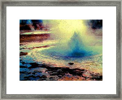 Night Falls On The Yellowstone Framed Print by Ann Johndro-Collins