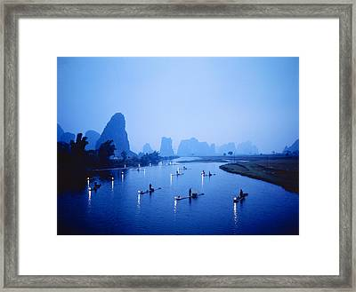Night Fishing Guilin China Framed Print by Panoramic Images