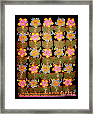 Night Flower-madhubani Paintings Framed Print