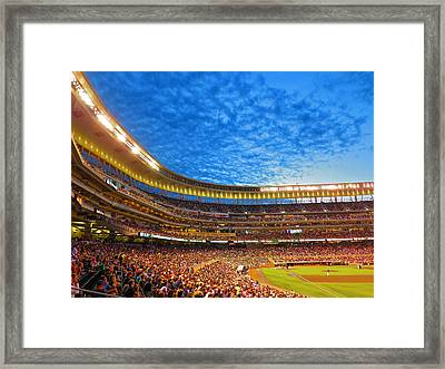 Night Game At Target Field Framed Print by Heidi Hermes