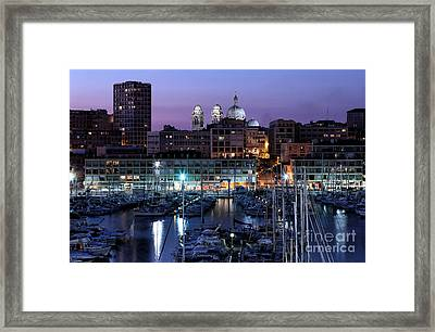 Night Glow In The Port Framed Print by John Rizzuto