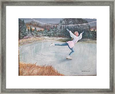 Night Ice Skater Framed Print