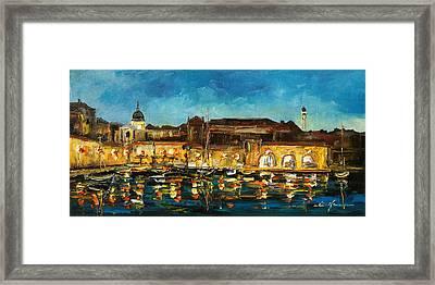 Night In Dubrovnik Harbour Framed Print