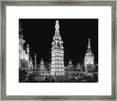 Night In Luna Park Framed Print by Georgia Fowler