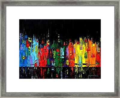 Night In Manhattan Framed Print by Kume Bryant