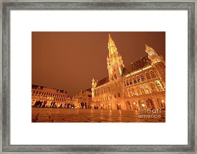 Night In The Grand Place Framed Print