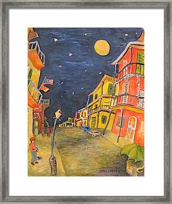 Night In The French Quarter Framed Print by Joan Landry