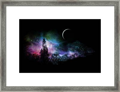 Framed Print featuring the digital art Night Landscape by Bruce Rolff