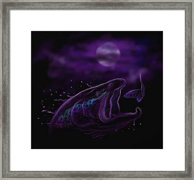 Night Life At The River  Framed Print by Yusniel Santos