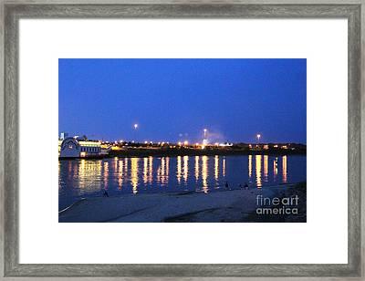 Night Light Dancing On The River Framed Print by Yumi Johnson