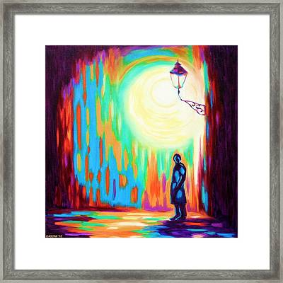 Night Light Street Framed Print by Casoni Ibolya