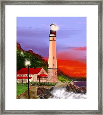 Framed Print featuring the digital art Night Lights 2 by Anthony Fishburne
