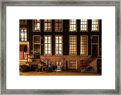 Night Lights In Amsterdam. Holland Framed Print