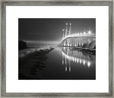 Night Lights In Black And White Framed Print by Debra and Dave Vanderlaan
