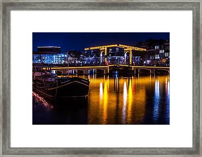 Night Lights On The Amsterdam Canals 3. Holland Framed Print by Jenny Rainbow