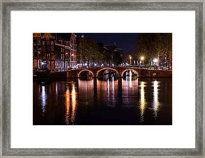 Night Lights On The Amsterdam Canals 4. Holland Framed Print