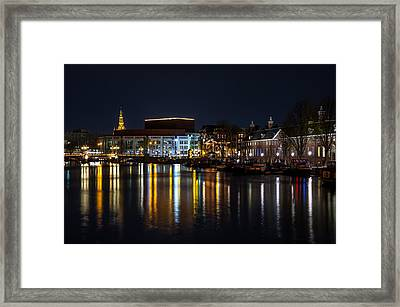 Night Lights On The Amsterdam Canals 6. Holland Framed Print by Jenny Rainbow