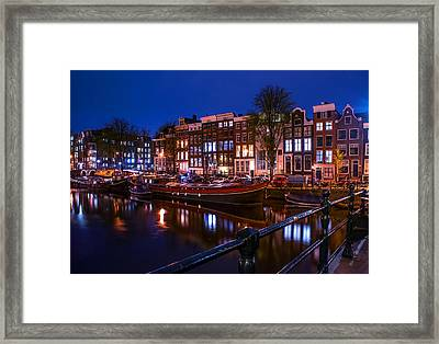 Night Lights On The Amsterdam Canals. Holland Framed Print by Jenny Rainbow