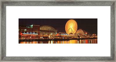 Night Navy Pier Chicago Il Usa Framed Print