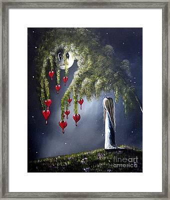 Night Of The Bleeding Hearts By Shawna Erback Framed Print