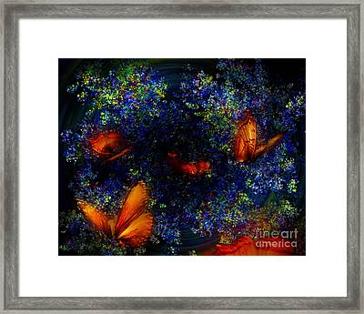 Framed Print featuring the digital art Night Of The Butterflies by Olga Hamilton