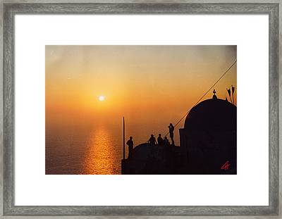 Night On Santorini Island  Framed Print