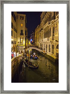 Night On The Canal - Venice - Italy Framed Print