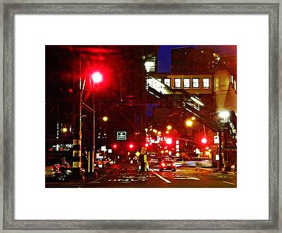 Night On West 125 Street Framed Print by Sarah Loft