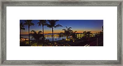 Night Over Newport Beach Panorama Framed Print
