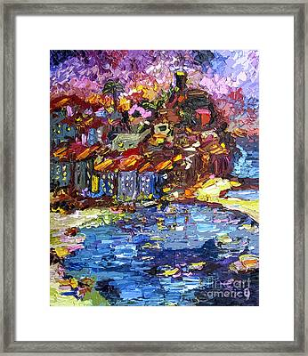 Night Over Vernazza Italy Framed Print by Ginette Callaway
