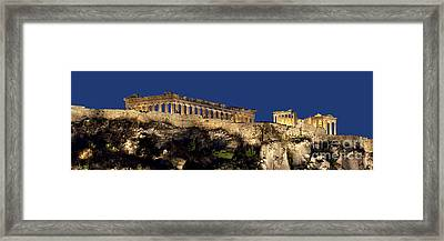 Night Panoramic View Of Acropolis Framed Print by Baltzgar