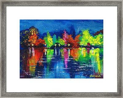 Night Park By The River Lanterns Trees Framed Print
