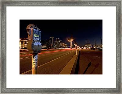 Night Parking Meter Framed Print by Peter Tellone