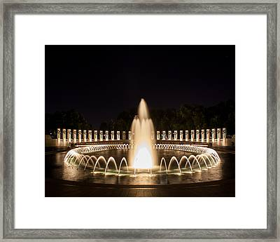 Night Reflections Wwii Memorial  Framed Print