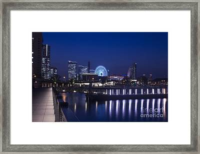 Night Scene In Blue Of Minatomirai In Yokohama Framed Print