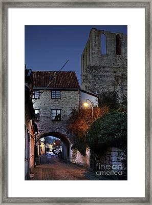 Night Scene In Medieval Town Framed Print by Ladi  Kirn