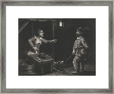 Night Scene Of A Fishmonger And A Man Urinating Framed Print by Jan Van Der Bruggen
